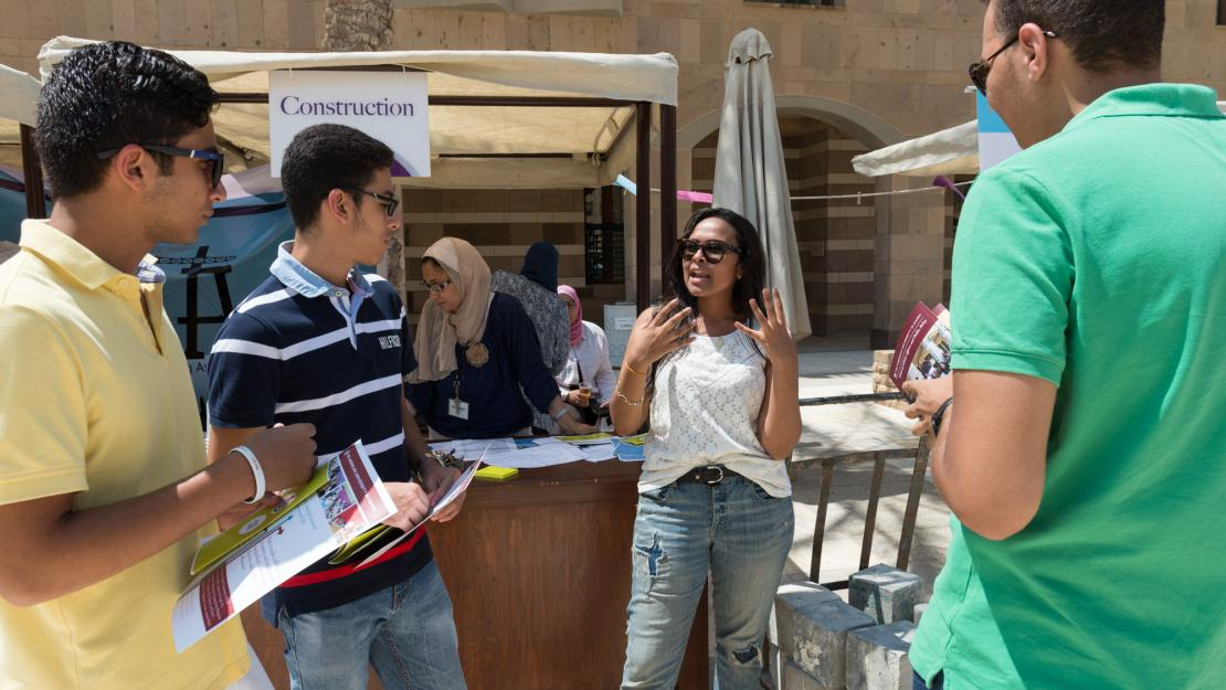 At the majors fair, freshmen meet faculty members and learn about AUC's academic programs