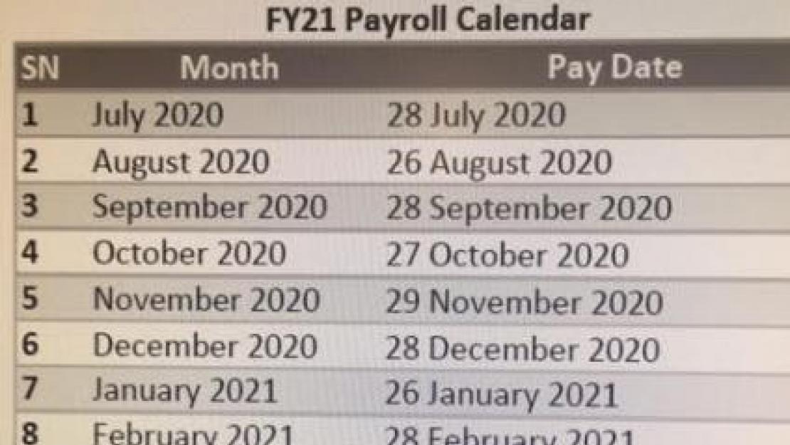 Payroll Calendar FY21 | The American University in Cairo