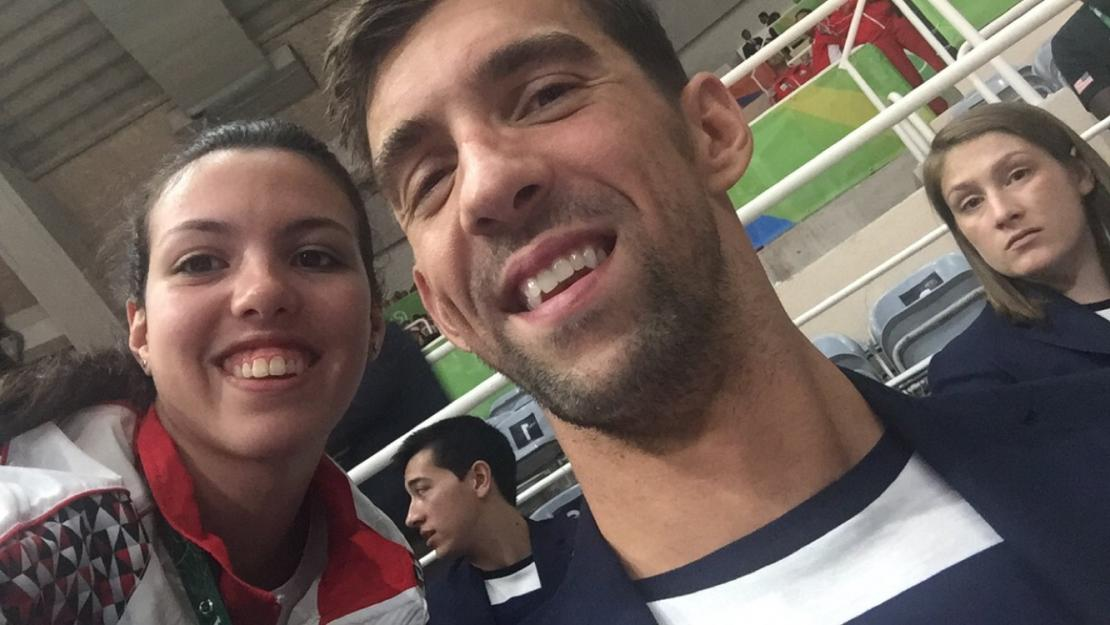 Yossra Ashraf meets U.S. swimmer Michael Phelps at the Rio 2016 Summer Olympics