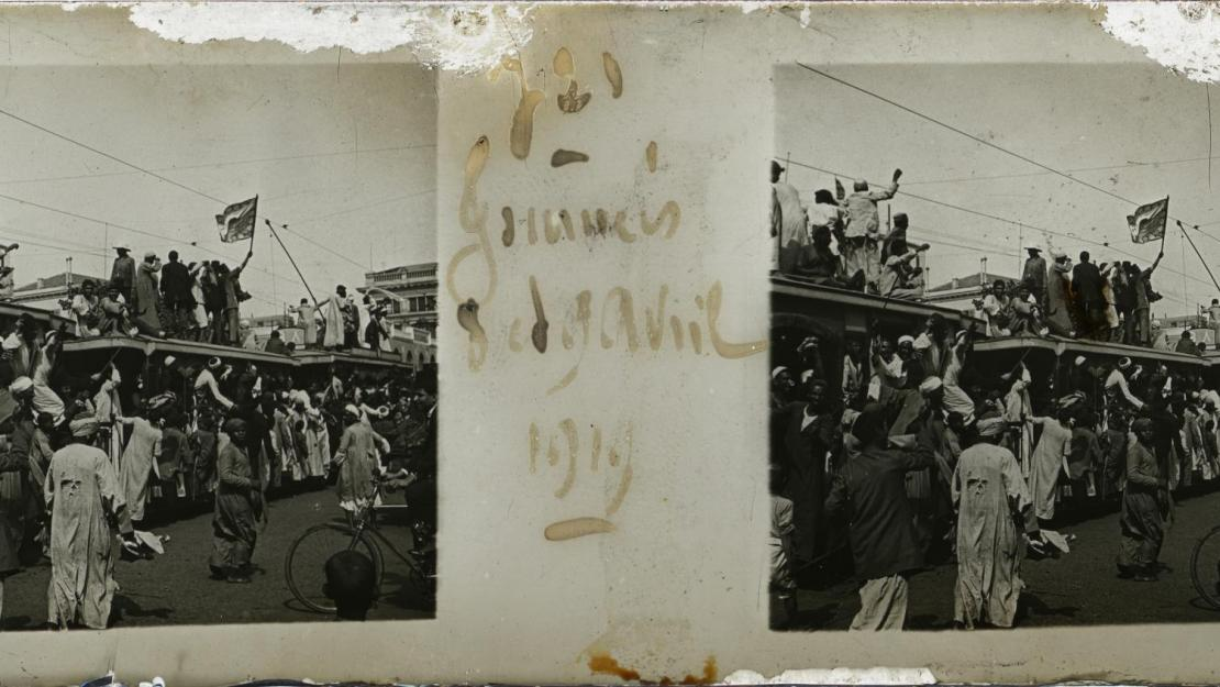 Egypt's 1919 revolution, April 8-9, from Taxiphote digitization project. Photo courtesy of Rare Books and Special Collections Library.
